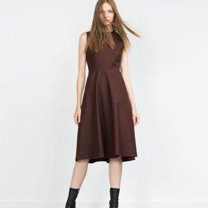 Zara Bordeaux Red Wool with Full Skirt Work